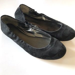 Coach black signature flats